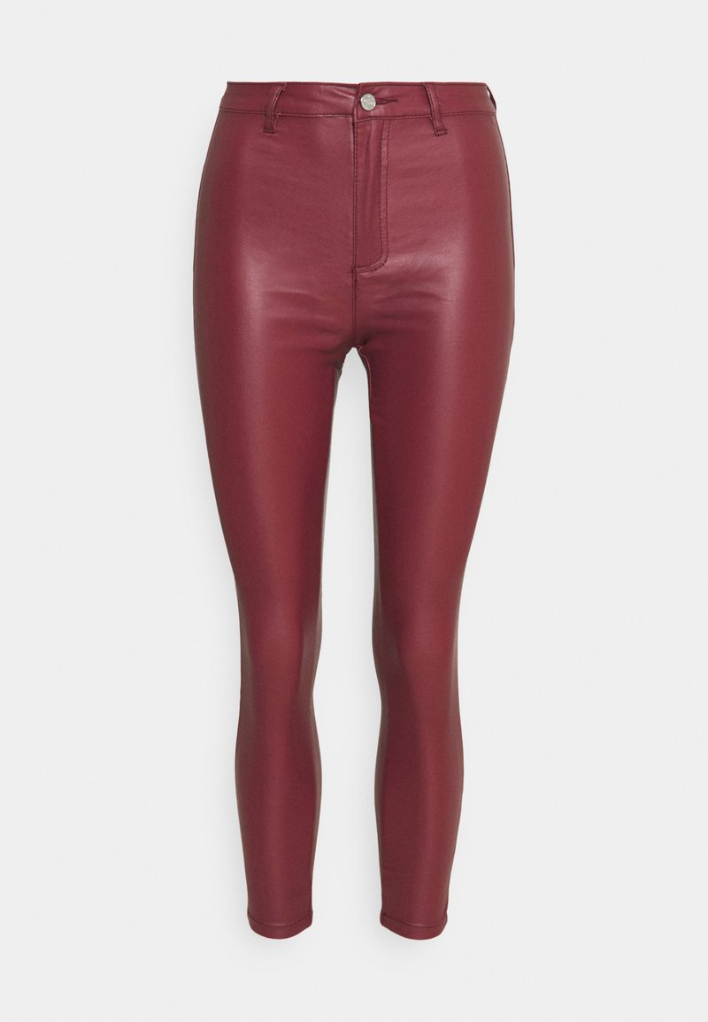 Missguided Petite - VICE HIGH WAISTED COATED SKINNY - Trousers - burgundy