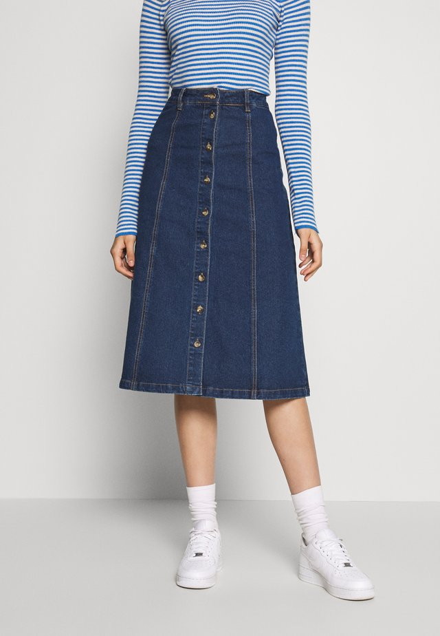 OBJSINYA DENIM SKIRT OXI - A-linjainen hame - medium blue denim