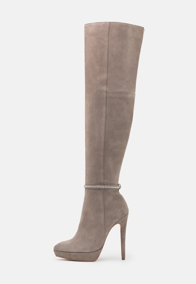 LEATHER - High heeled boots - grey