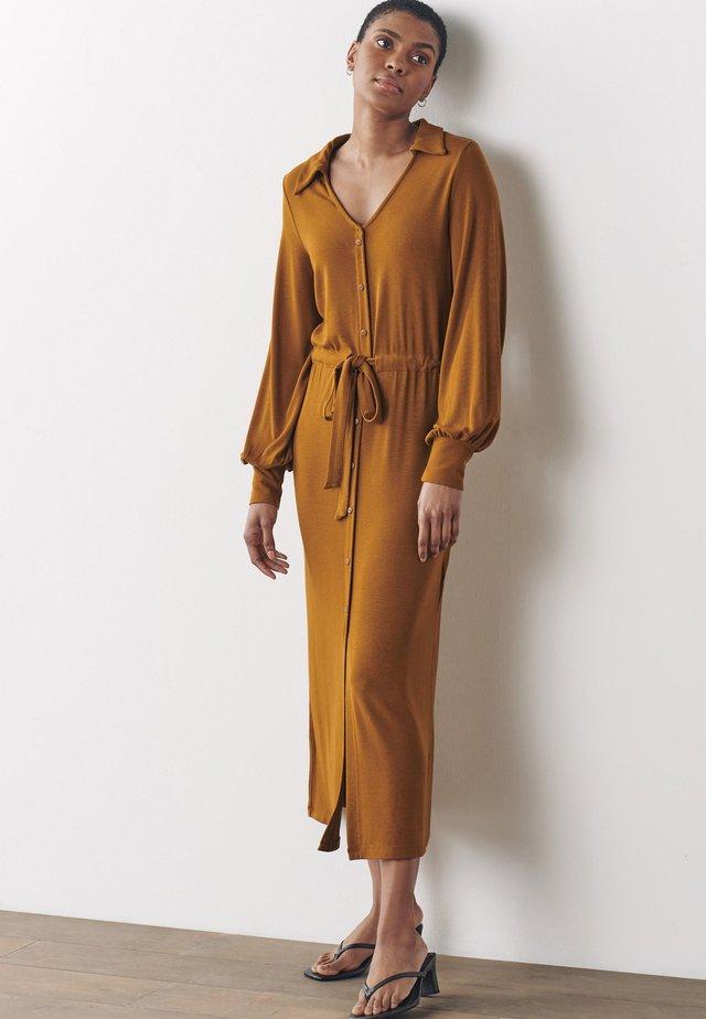 Košilové šaty - mustard yellow
