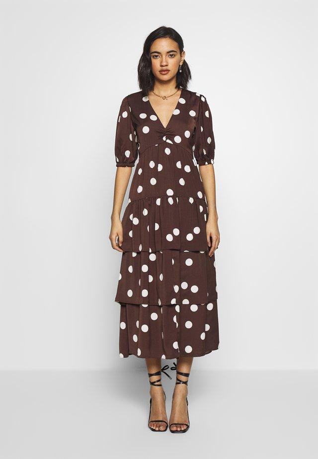THE RUFFLE MIDI DRESS - Day dress - brown/white