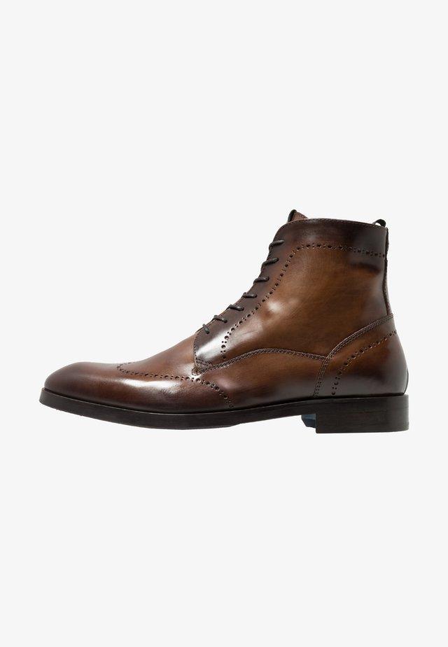 Šněrovací kotníkové boty - marrone/blu