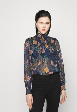 PRINTED WITH SMOCKING DETAILS - Blouse - blue