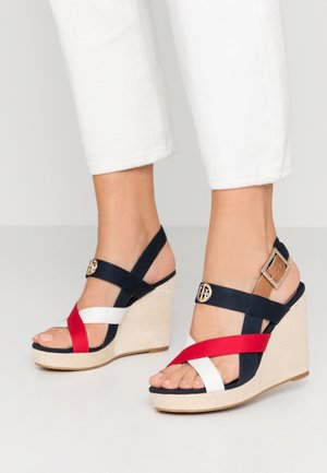 ELENA - High heeled sandals - red/white/blue