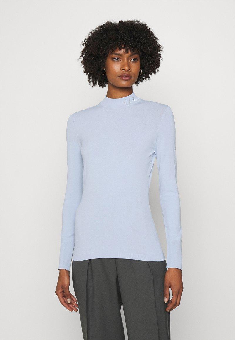 KARL LAGERFELD - LOGO MOCK NECK - Pullover - cashmere blue