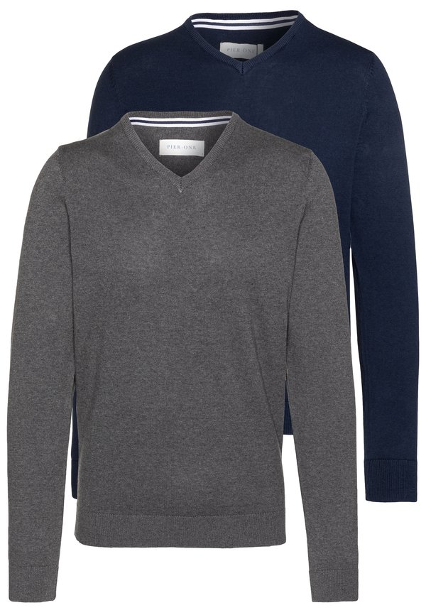 Pier One 2PACK - Sweter - dark blue/granatowy Odzież Męska ULLP