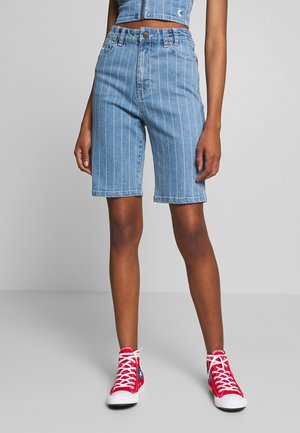PINSTRIPE - Denim shorts - blue/white