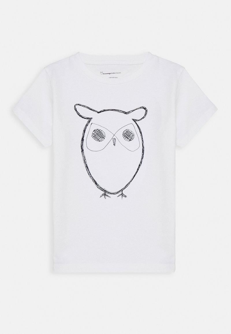 KnowledgeCotton Apparel - FLAX OWL - Triko spotiskem - white