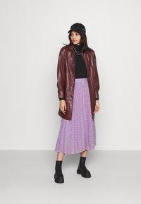 Topshop - BELTED SHAKETT - Short coat - burgundy - 1