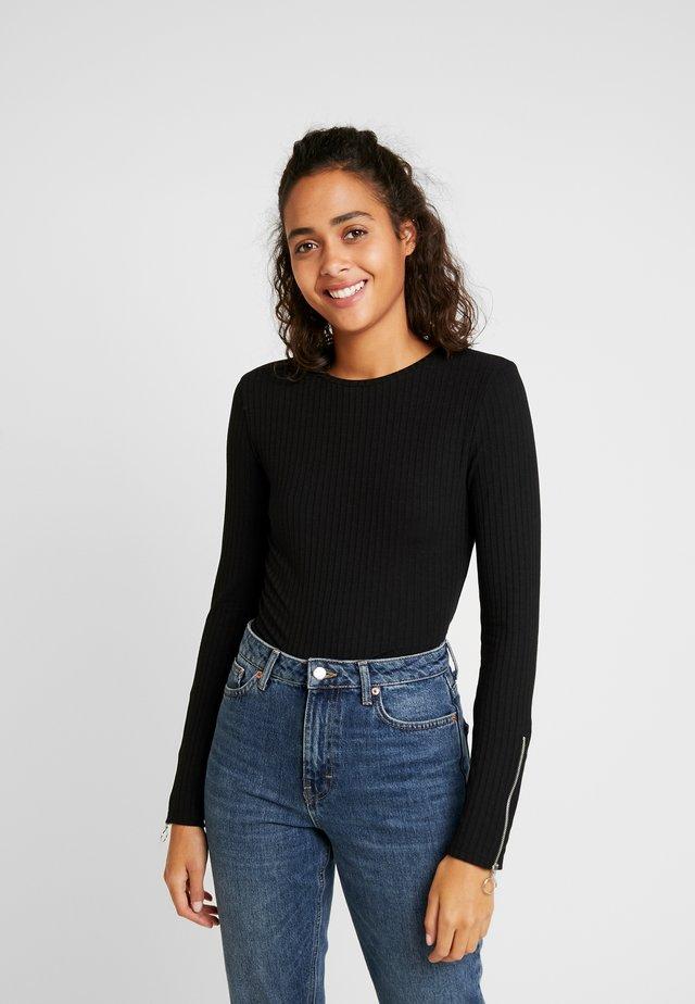 ZIP SLEEVE - Långärmad tröja - black