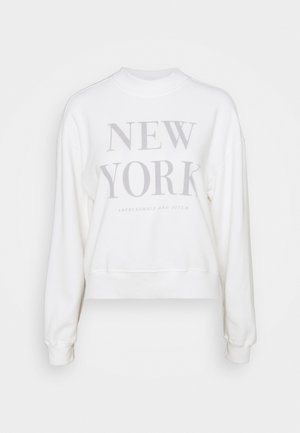MOCK NECK LOGO CREW - Sweatshirt - white