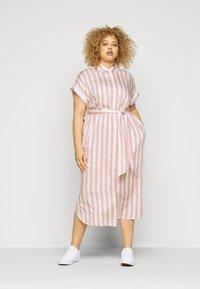 Lauren Ralph Lauren Woman - CICERO SHORT SLEEVE CASUAL DRESS - Shirt dress - pink/white - 1