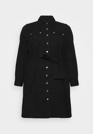 SIMONE LONG SLEEVE DRESS - Denimové šaty - black