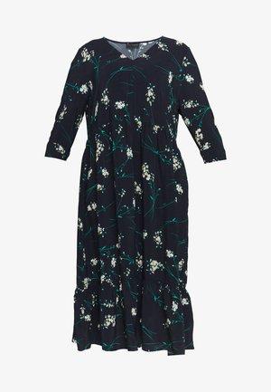 NAVY PRINT TIERED DRESS - Day dress - dark blue