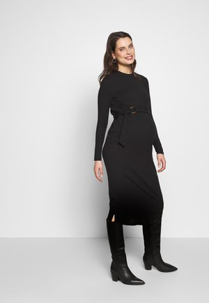 MIDI BELT DRESS - Jersey dress - black