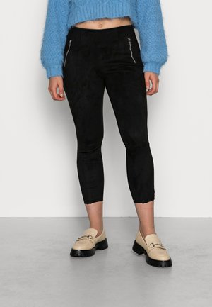 VMDONNADINA ZIP FAUXSUEDE  - Leggings - Trousers - black