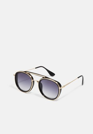 SUNGLASSES IBIZA WITH CHAIN UNISEX - Sunglasses - black/gold-coloured