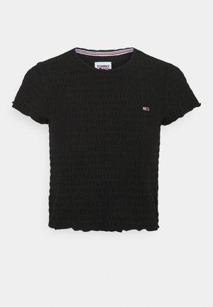 CROP SMOCK TEE - Print T-shirt - black