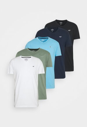 5 PACK - T-shirt imprimé - white/blue/sage/navy/black