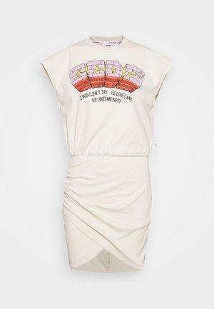 FLOWER SLEEVELESS WRAPPED DRESS - Žerzejové šaty - whitecup grey