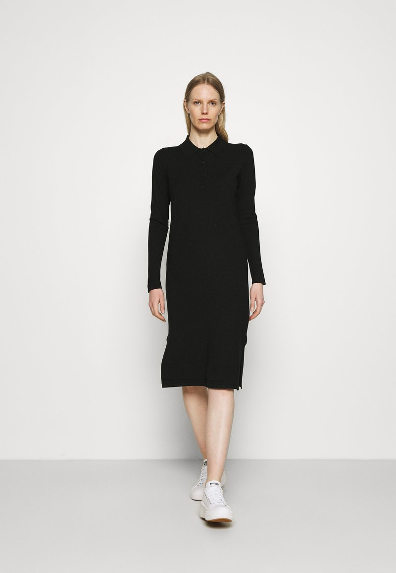 Marc O'Polo - DRESS LONGSLEEVE COLLAR WITH - Jumper dress - black