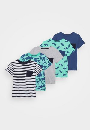5 PACK - Camiseta estampada - grey/dark blue/turquoise/white