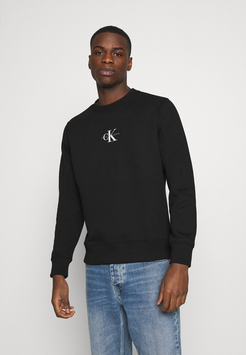 Calvin Klein Jeans - CHEST PRINT CREW NECK - Felpa - black