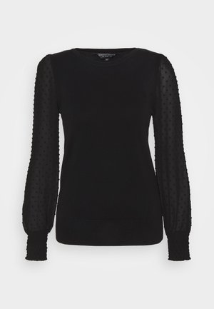 DOBBY SLEEVE 2IN1 JUMPER - Pullover - black