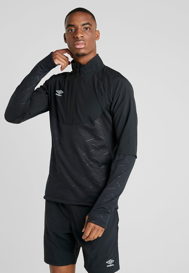 ELITE TRAINING THERMAL HYBRID HALF ZIP - Bluza z polaru - black