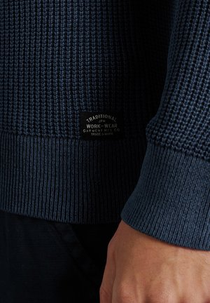 ACADEMY DYED TEXTURE - Pullover - washed dark storm navy