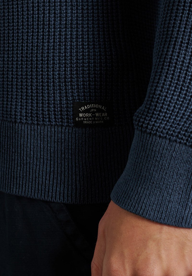 Superdry - ACADEMY DYED TEXTURE - Pullover - washed dark storm navy