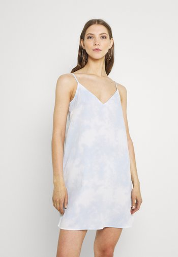 Korte jurk - tiedye blue