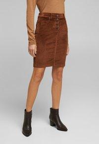 Esprit - PENCIL SKIRT - Pencil skirt - brown - 3