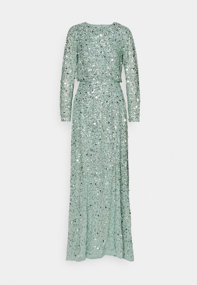 ALL OVER EMBELLISHED LONG SLEEVE MAXI - Robe de cocktail - muted mint