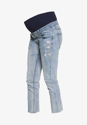 MOM FIT WITH EMBROIDERY - Straight leg jeans - light indigo