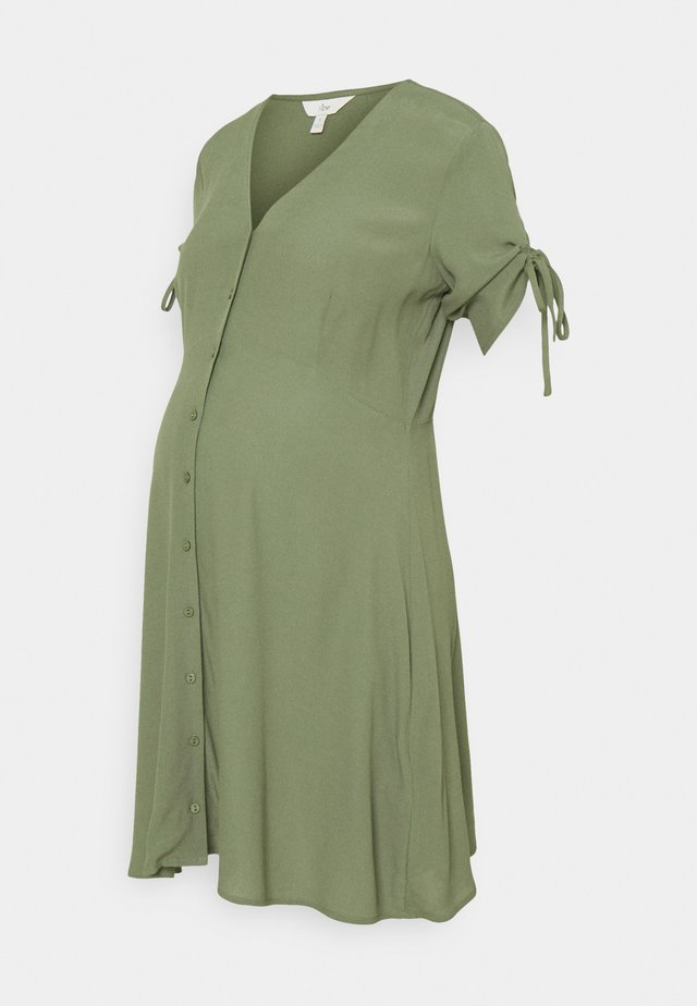 MAE BUTTON THROUGH DRESS - Jerseykjoler - khaki