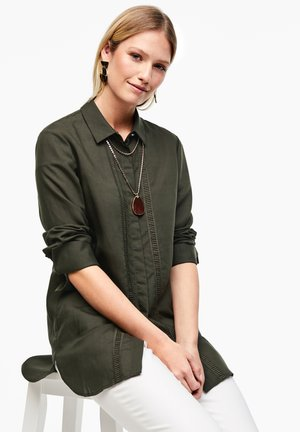 Button-down blouse - dark khaki green
