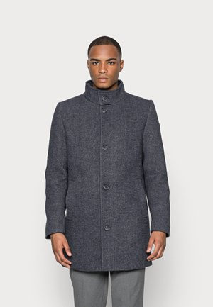 COAT WITH STAND UP COLLAR - Cappotto corto - knitted navy herringbone