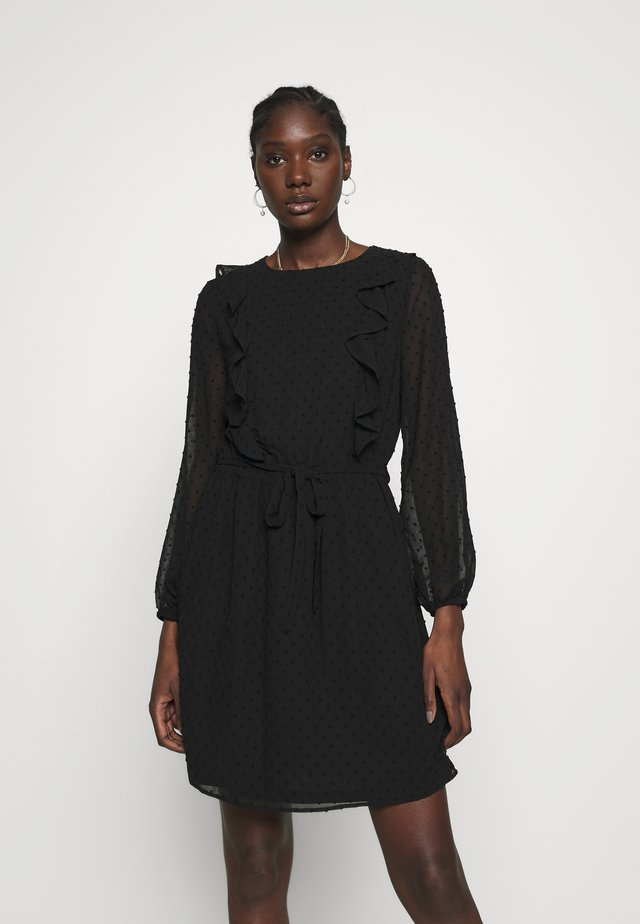 LONG SLEEVE RUFFLE DOBBY FIT AND FLARE - Day dress - black