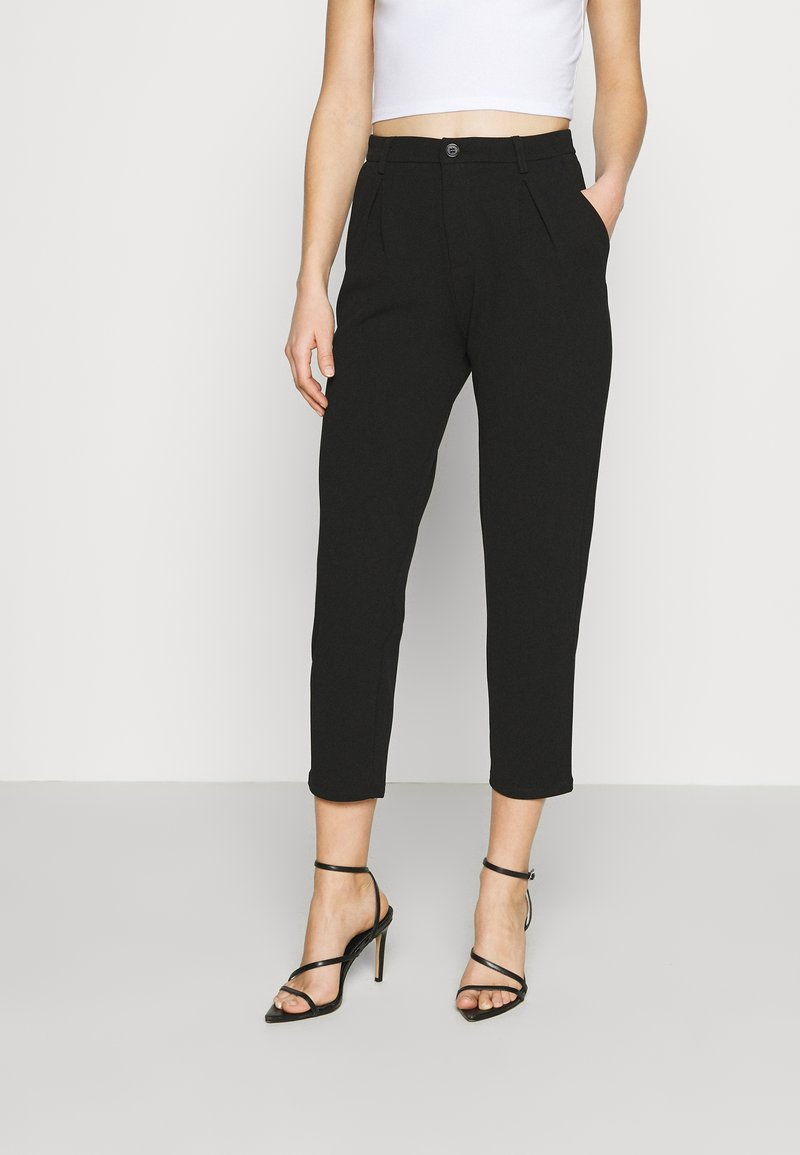 Even&Odd - TAPERED PANTS WITH DART DETAIL  - Trousers - black