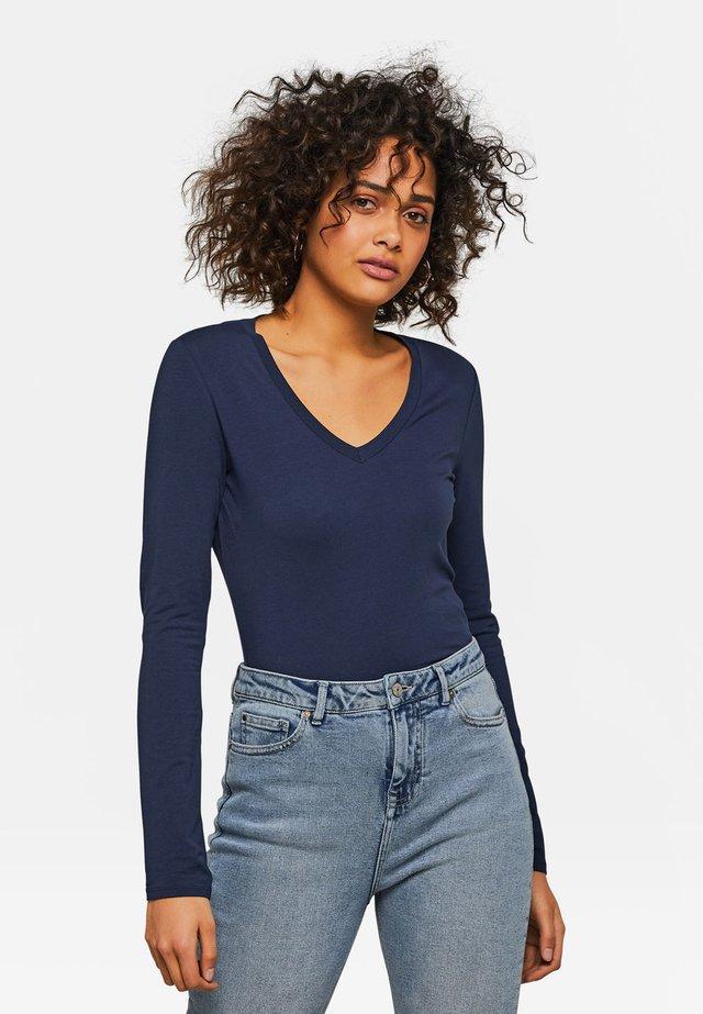 WE FASHION DAMENSHIRT AUS BIO-BAUMWOLLE - T-shirt à manches longues - blue