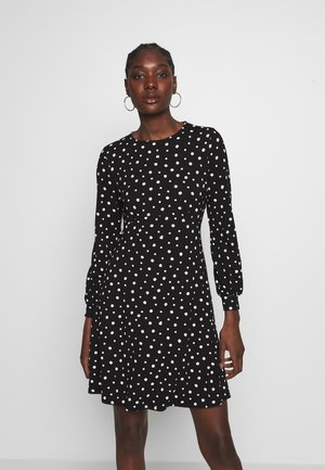 MONO SPOT EMPIRE FIT AND FLARE DRESS - Jersey dress - black
