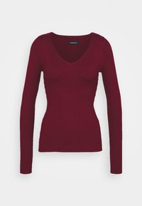 Even&Odd - BASIC- V-neck jumper - Jersey de punto - burgundy - 4