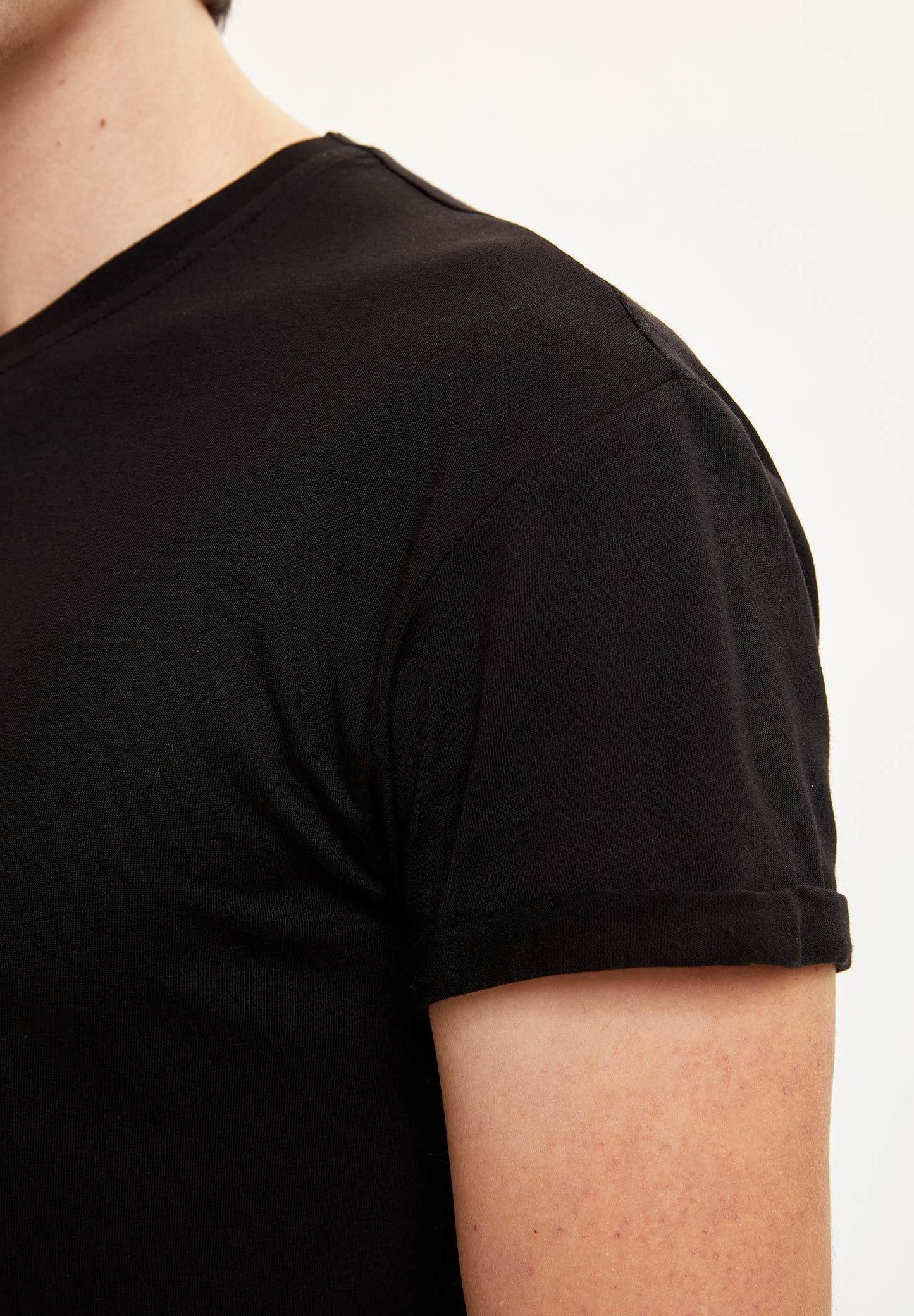 DeFacto Basic T-shirt - black JQHpB