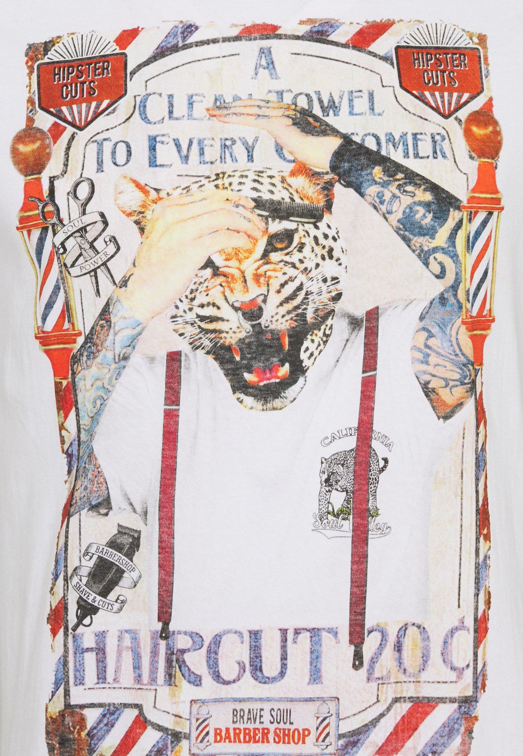 Brave Soul RAZOR - Print T-shirt - optic white hBHBh