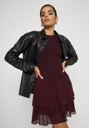CHEETAH SMOCK MINI  - Day dress - dark ruby