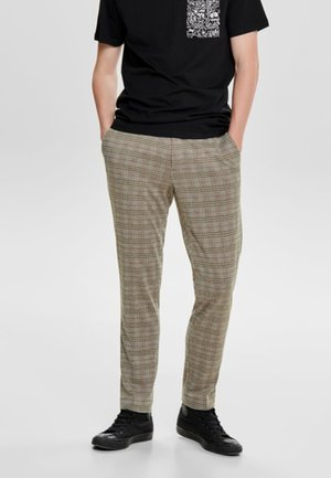 ONSCARL CHECK - Pantaloni - light brown