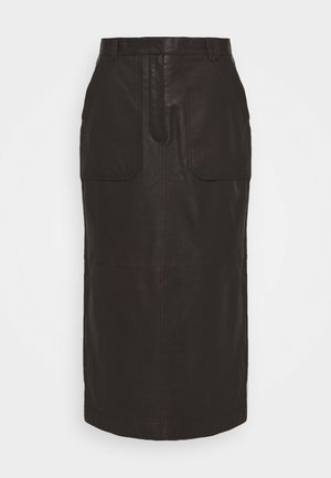 ELETTE - Pencil skirt - dark chokolate