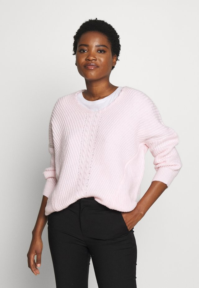 V NECK DETAIL CABLE JUMPER - Pullover - blush