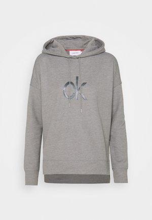 RHINESTONE LOGO HOODIE - Sweatshirt - mid grey heather